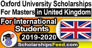 Oxford University Scholarships in UK 2019-2020 - Pershing Square Scholarship for Masters