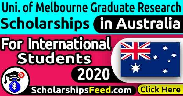 University of Melbourne Graduate Research Scholarships 2020